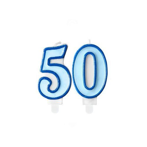 Świeczki cyferki błękitne - 50 - pięćdziesiątka - 2 szt. marki Party deco