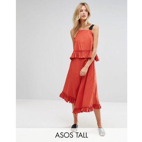 cotton maxi dress with ruffle detail & grosgrain straps - red marki Asos tall