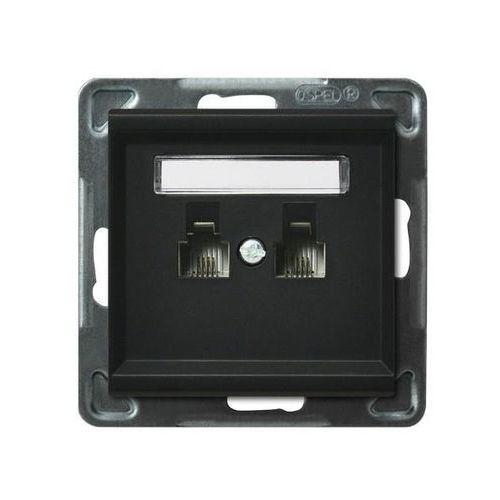 Ospel sonata gpt-2rr/m/33 gniazdo telefoniczne, podwójne, równoległe czarny metalik