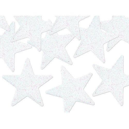 Białe gwiazdki z brokatem na Boże Narodzenie - 8 szt., DEKOR/0276-9