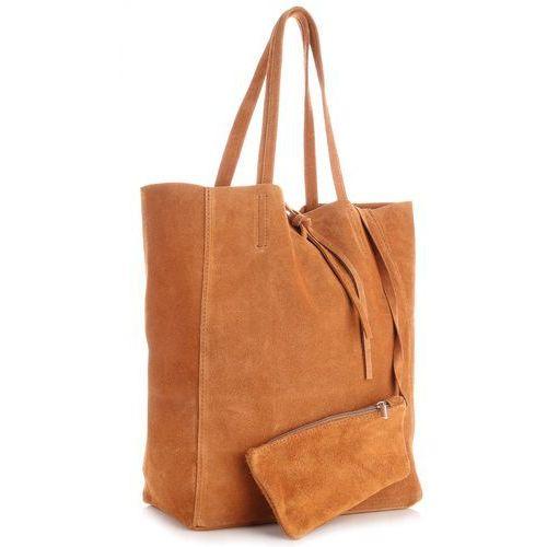 Modne torebki skórzane typu shopperbag z etui zamsz naturalny wysokiej jakości ruda (kolory) marki Vera pelle