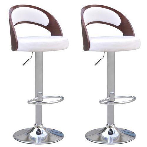 vidaXL 2 krzesła barowe z wysokim okrągłym oparciem drewno i biały materiał (8718475940463)
