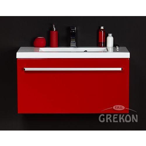 Czerwona szafka wisząca z umywalką 80/39 seria Fokus CZ