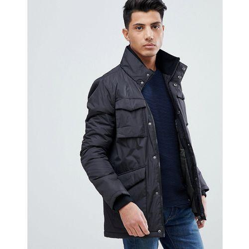 Threadbare 4 pocket knitted collar jacket - black