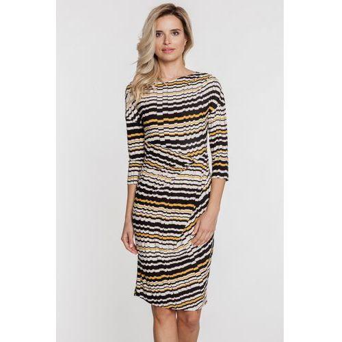 Dopasowana sukienka w geometryczny wzór - Ryba, kolor czarny