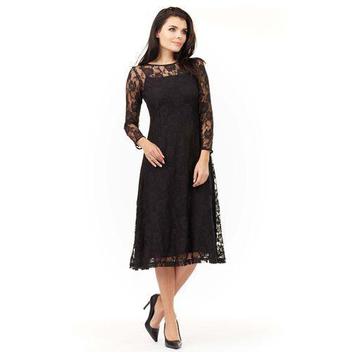 Midi Sukienka z Czarnej Koronki, WA205bl