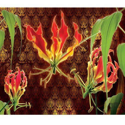 Consalnet Fototapeta czerwone lilie na brązowym tle ze złotym wzorem 1389