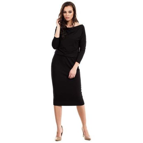 Czarna casualowa midi sukienka z lejącym dekoltem, Moe, 36-46