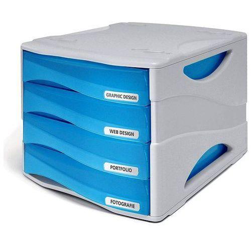 Organizer na dokumenty smile tr15p4pbl, 4 szuflady, szaro-niebieski marki Arda