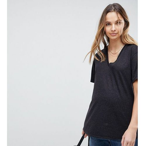ASOS DESIGN Maternity t-shirt with v-neck in linen mix in black - Black