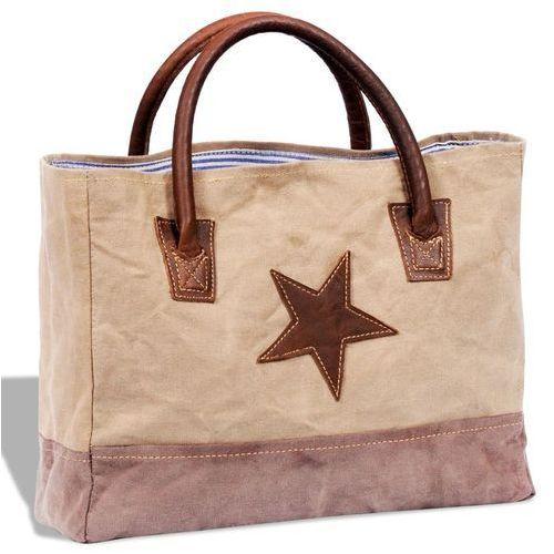 Vidaxl płócienno-skórzana torba na zakupy z gwiazdą, beżowa (8718475944836)