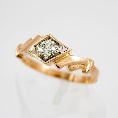 Złoty pierścionek z diamentem P848