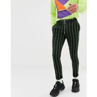 Asos design super skinny smart trouser in black with bright green stripe - black