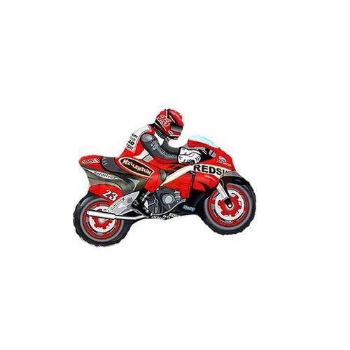 Balon foliowy do patyka Motocykl czerwony - 36 cm - 1 szt.