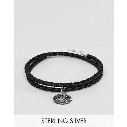 design bracelet with sterling silver st christopher pendant - black marki Asos