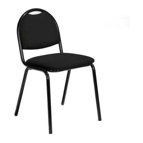 Krzesło do stołówki Warren eko-skóra czarny czarny, kolor czarny
