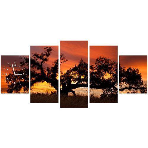 B2b Zegar w obrazie - dąb w zachodzącym słońcu - don mccullough