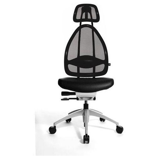 Efektowne obrotowe krzesło biurowe, z zagłówkiem i oparciem siatkowym, całk. wys