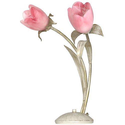 Luminex Lampa lampka oprawa stołowa oaza 2x60w e14 srebrny/różowy 4608 (5907565946086)