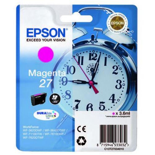 oryginalny ink c13t27034010, 27, magenta, 3,6ml, epson wf-3620, 3640, 7110, 7610, 7620 od producenta Epson
