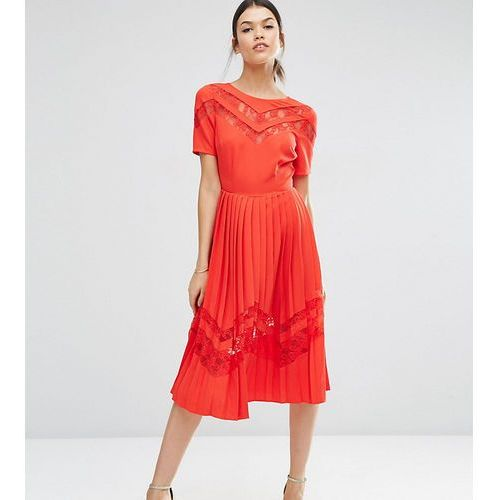 Asos tall premium pleated midi dress with lace inserts - red