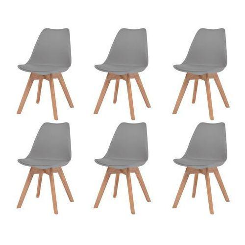 Vidaxl krzesła do jadalni, 6 szt., sztuczna skóra, lite drewno, szare (8718475580430)