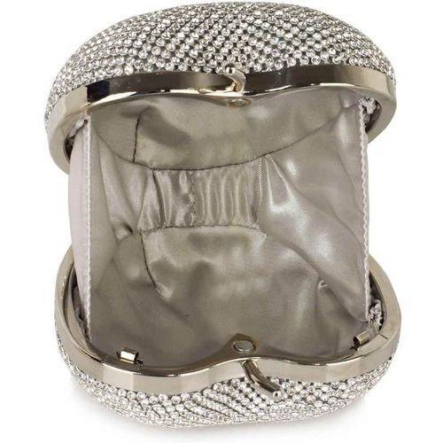 OKAZJA - Zjawiskowa torebka wizytowa w kształcie jabłuszka srebrna - srebrny