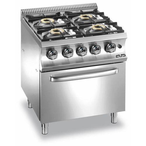 Kuchnia gazowa o zwiększoznej mocy 4-palnikowa z piekarnikiem gazowym GN2/1| Domina 700 | 4x6kW | 700x730x(H)850mm