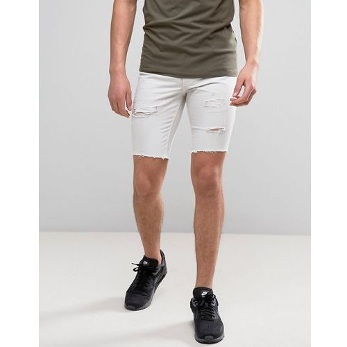 River Island Raw Hem Denim Shorts With Rips In Stone Wash - Stone