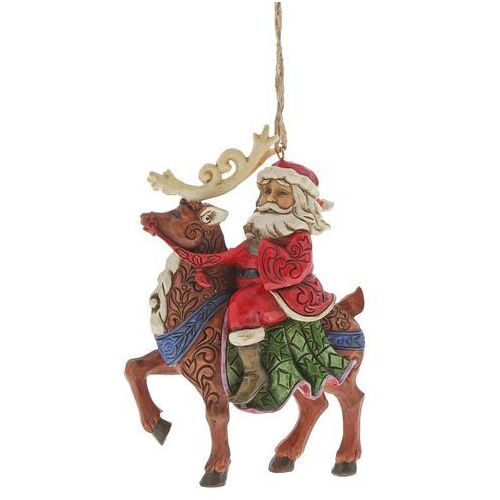 Mikołaj na reniferze zawieszka Santa Riding Reindeer (Hanging Ornament) 6004305 Jim Shore figurka ozdoba świąteczna gwiazdor
