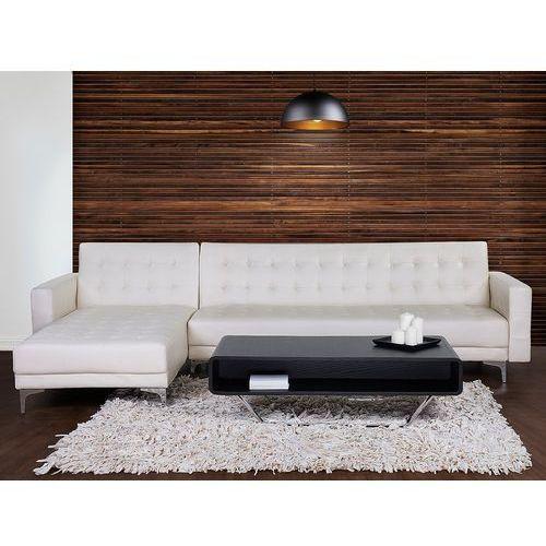 Beliani Sofa biała - kanapa - skórzana - rozkładana - narożnik - aberdeen (7081459835446)