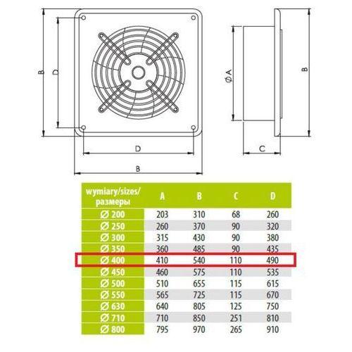 Airroxy Ścienny wentylator wyciągowy przemysłowy średnice od 200 do 630 mm bardzo wydajny arok średnice: 400