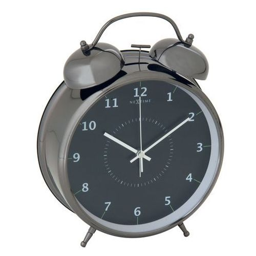 Budzik Nextime Wake Up 20 cm black, kolor czarny