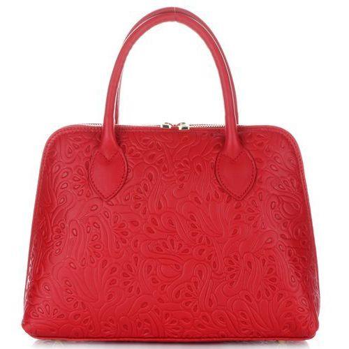 7749f6d486049 Klasyczne Włoskie Torebki Skórzane Kuferki Czerwone (kolory), kolor czerwony