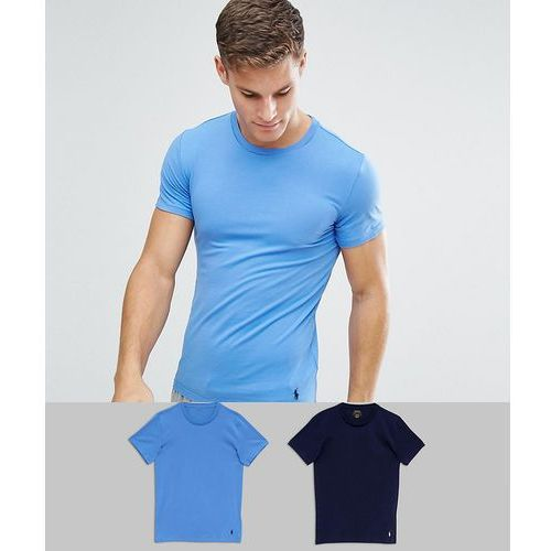 2 pack stretch slim fit cotton t-shirts in navy/blue - multi marki Polo ralph lauren