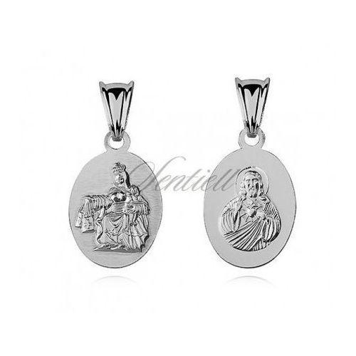 Sentiell Srebrny medalik jezus / matka boska szkaplerzna - m089