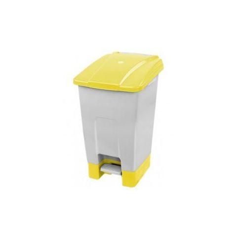 Kosz na śmieci z pedałem nożnym 70 l żółtą pokrywą