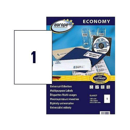 Etykiety samoprzylepne Economy Avery Zweckform 210x297mm białe, 100ark. A4, ELA027