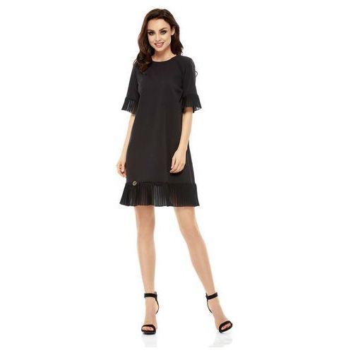 Wizytowa Sukienka z Ozdobnym Plisowaniem - Czarna, w 4 rozmiarach