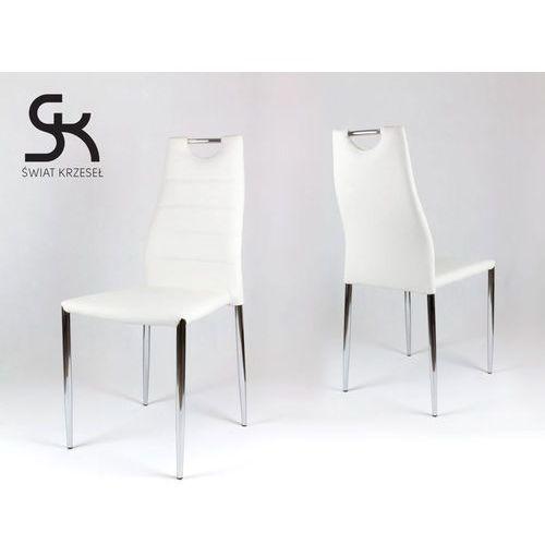 Świat krzeseł Ks005 białe krzesło z ekoskóry na stelażu chromowanym, kategoria: krzesła