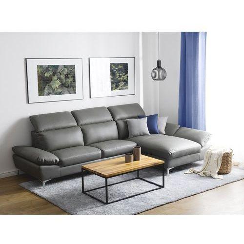 Sofa narożna skórzana szara lewostronna FARILA (7105276254294)