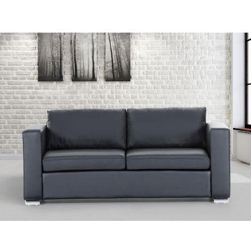 Skórzana sofa trzyosobowa czarna - kanapa - HELSINKI, kolor czarny
