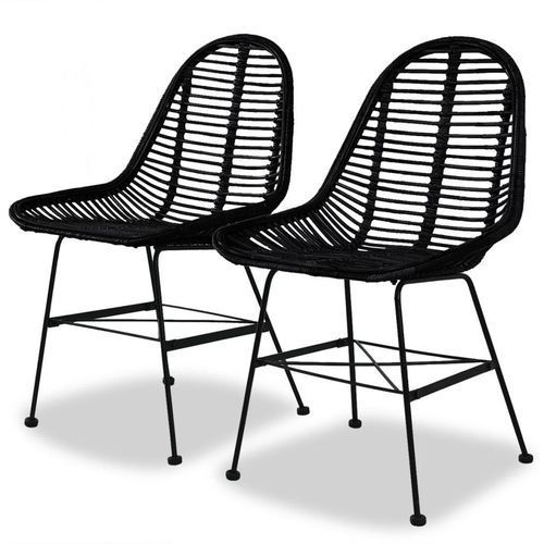 Krzesła do jadalni, 2 szt., naturalny rattan, czarne marki Vidaxl