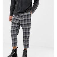 Heart & Dagger slim smart trouser in charcoal check - Grey