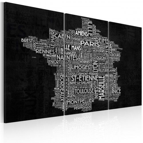 Obraz - Text map of France on the black background - triptych, A0-N2135 (5426956)