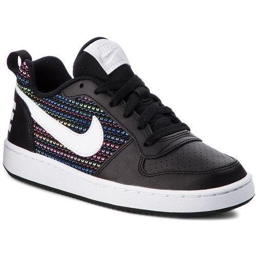 Nike Buty - court borough low se (gs) aa2902 001 black/white/volt/racer blue