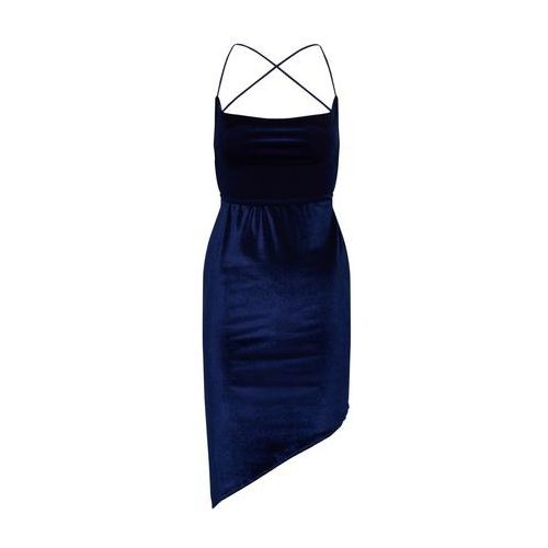 Missguided Letnia sukienka 'Velvet Asymetric Strappy Back Mini' granatowy, kolor niebieski