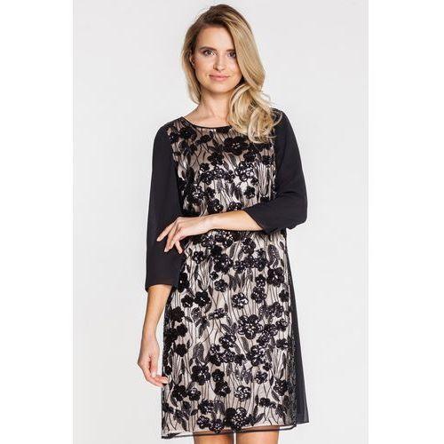 Wizytowa sukienka z cekinami - Potis & Verso, kolor czarny