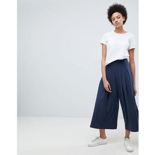 pleat front wide leg trouser - navy marki Weekday