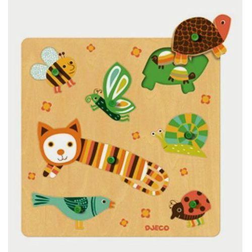 Djeco Puzzle drewniane z uchwytami - kot i przyjaciele
